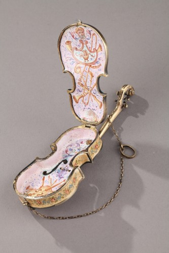 Silver and Enamel violin vinaigrette. Ludwig Politzer. Vienna 19th Century. - Objects of Vertu Style