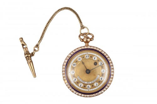 Pocket Watch in Gold with Pearls and Enamel. Albaret et Mathieu, Early 19th