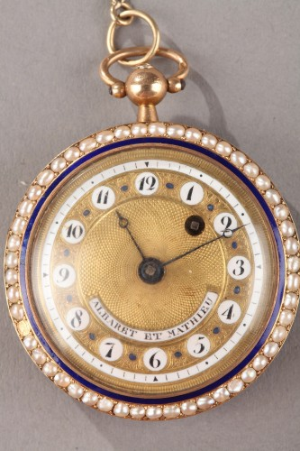Pocket Watch in Gold with Pearls and Enamel Albaret et Mathieu - Clocks Style Empire