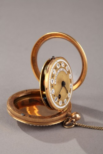 Clocks  - Pocket Watch in Gold with Pearls and Enamel Albaret et Mathieu