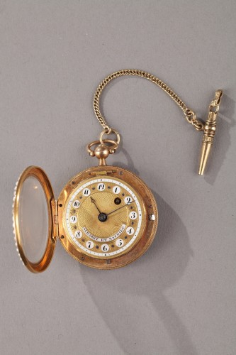Pocket Watch in Gold with Pearls and Enamel Albaret et Mathieu -