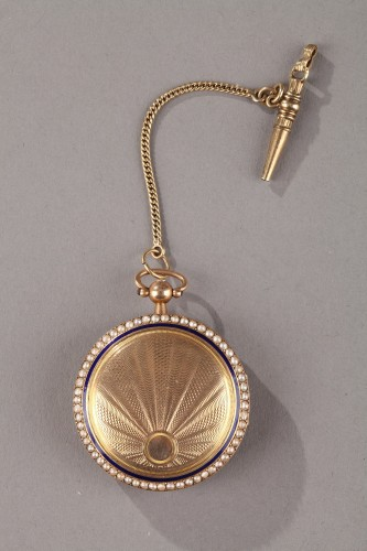 19th century - Pocket Watch in Gold with Pearls and Enamel Albaret et Mathieu