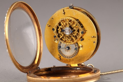 Pocket Watch in Gold with Pearls and Enamel Albaret et Mathieu - Empire