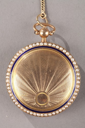 Empire - Pocket Watch in Gold with Pearls and Enamel Albaret et Mathieu