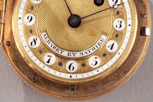 Antiquités - Pocket Watch in Gold with Pearls and Enamel Albaret et Mathieu