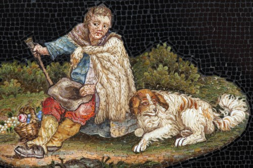 Micromosaic of Shepherd - Objects of Vertu Style Restauration - Charles X