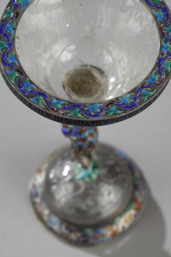 Objects of Vertu  - An Austrian rock crystal, silver and enamel Cup. 19th century.  S.Grünwald.