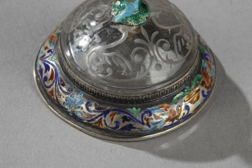 19th century - An Austrian rock crystal, silver and enamel Cup. 19th century.  S.Grünwald.