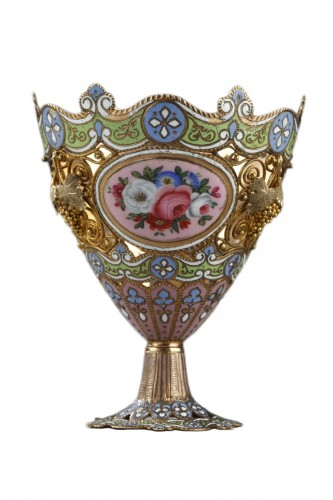 A gold and enamel Zarf. Swiss. Early 19th century