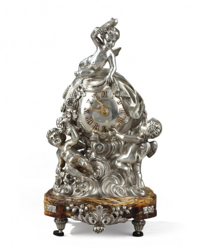 A French Silver clock table