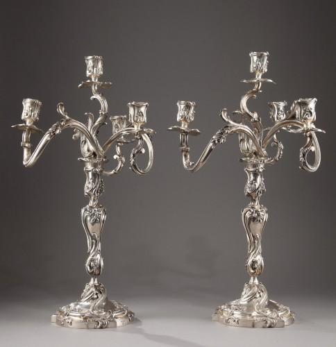 19th century - Silver candelabra Signed BOIN TABURET