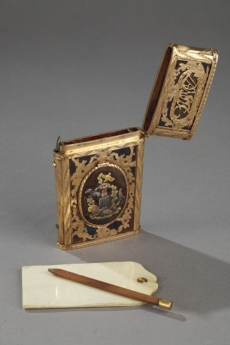 Louis XVI - Gold, enamel and stell writing case with secret