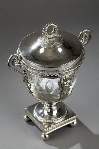 Early 19th century silver and crystal candy dish - Antique Silver Style Restauration - Charles X