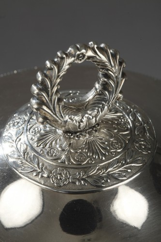 Antique Silver  - Early 19th century silver and crystal candy dish