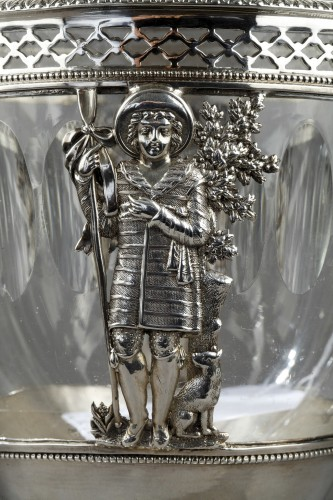Early 19th century silver and crystal candy dish -