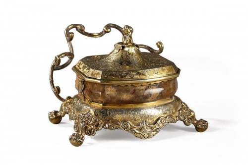 English Silver-Gilt and Agate Inkstand