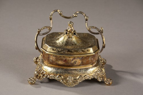 English Silver-Gilt and Agate Inkstand  - Decorative Objects Style Restauration - Charles X