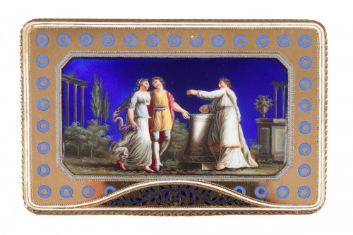 Rectangular enamelled gold box.