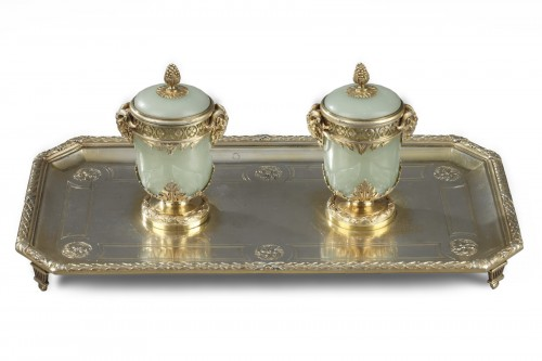 19th century Iinkstand in silver and jade Boin Taburet