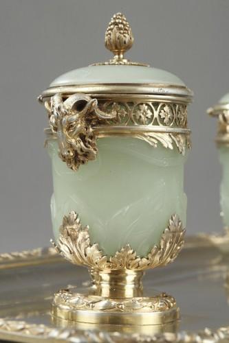 19th century Iinkstand in silver and jade BOIN TABURET - Napoléon III