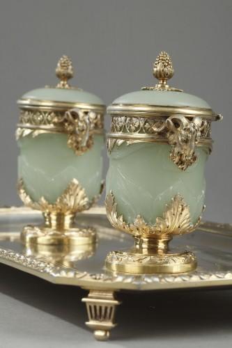 Napoléon III - 19th century Iinkstand in silver and jade BOIN TABURET