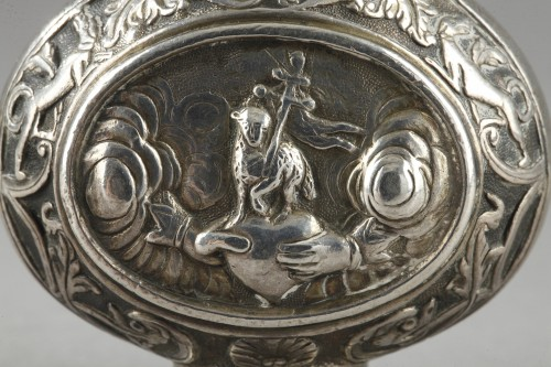 Antique Silver  - A Silver Scent Bottle in the Shape of a Pilgrim Flask. German 18th century.