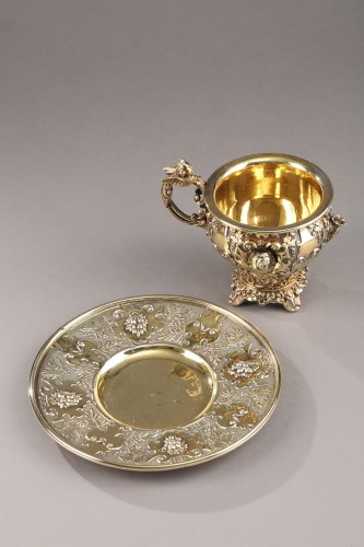 French Silver Cup and saucer - Antique Silver Style Restauration - Charles X