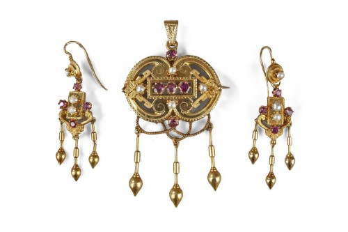 Demi-parure in gold, pearls and gems stones Napoleon III