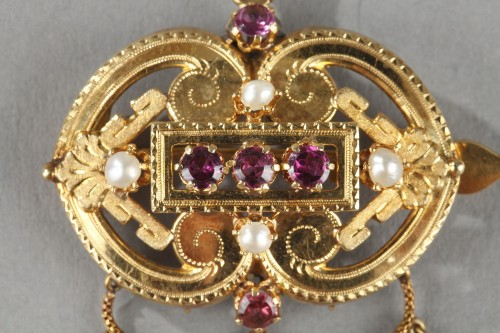 Demi-parure in gold, pearls and gems stones Napoleon III -