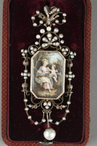 19th century - Vermeil and silver pendant  with a miniature on ivory Napoleon III