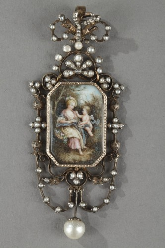Antiquités - Vermeil and silver pendant  with a miniature on ivory Napoleon III