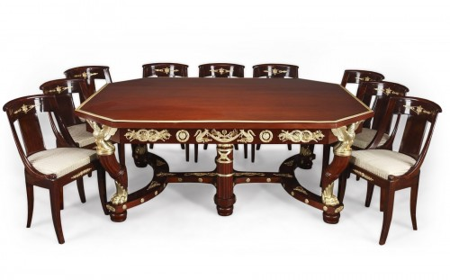 Mahogany and gilt bronze pair of consoles, table and chairs Empire style.