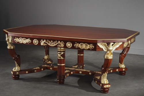 Furniture  - Mahogany and gilt bronze pair of consoles, table and chairs Empire style.