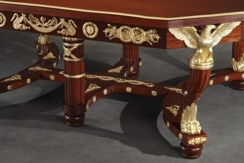 19th century - Mahogany and gilt bronze pair of consoles, table and chairs Empire style.
