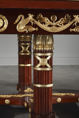 Mahogany and gilt bronze pair of consoles, table and chairs Empire style.  - Napoléon III