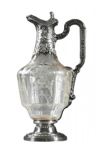 A 19th century crystal silver mounted Ewer Edouard Ernie Circa 1880