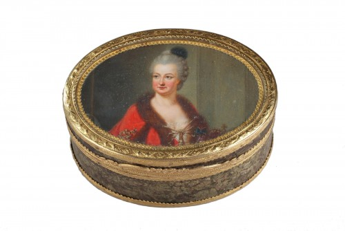 18th-century Gold box with miniature on ivory Elisabeth Auguste Palatina