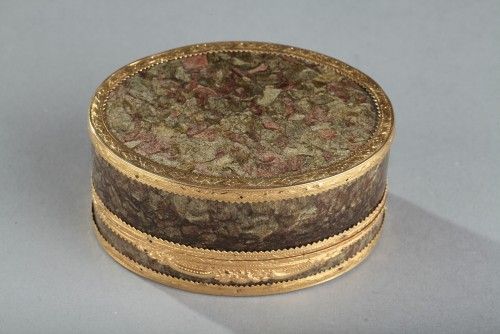18th century - 18th-century Gold box with miniature on ivory Elisabeth Auguste Palatina