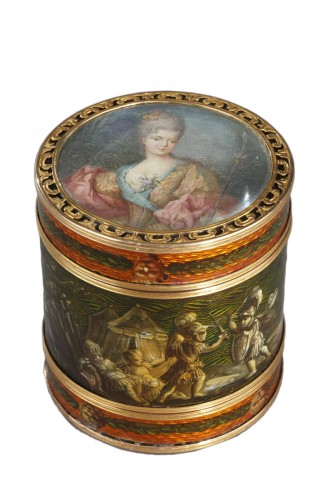 18th century box with miniature signed Bardin and gold