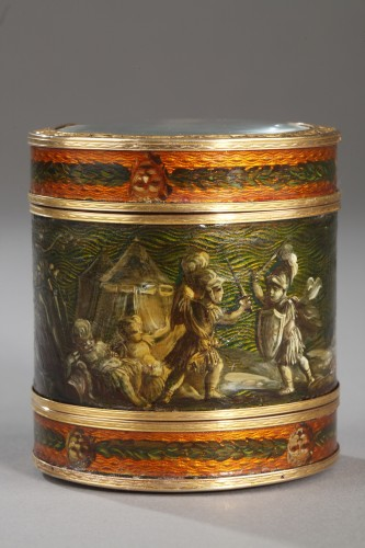 18th century box with miniature signed Bardin and gold - Objects of Vertu Style Louis XV