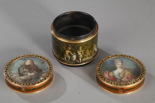 18th century box with miniature signed Bardin and gold - Louis XV