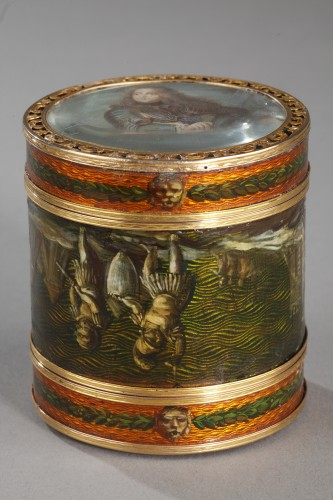 Louis XV - 18th century box with miniature signed Bardin and gold