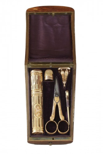 18th century gold sewing set with wax case