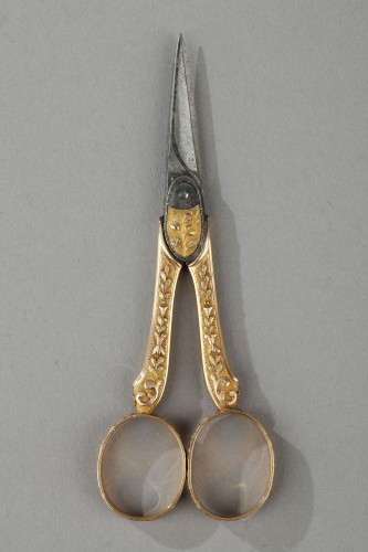 18th century gold sewing set with wax case -