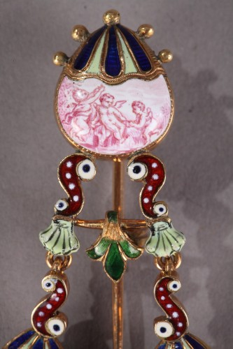 Gold and enamel watch, viennese craftsmanship circa 1860-1870 - Clocks Style Napoléon III