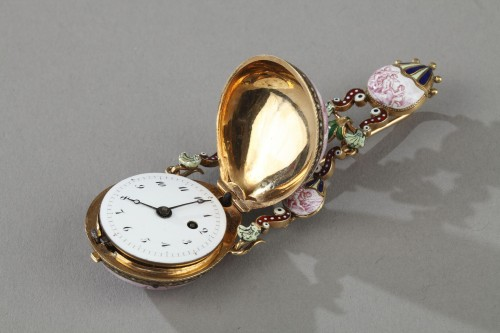 19th century - Gold and enamel watch, viennese craftsmanship circa 1860-1870