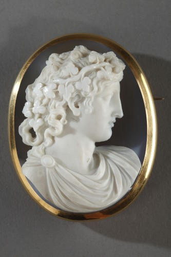 Cameo on agate gold mount 19th century - Antique Jewellery Style Louis-Philippe