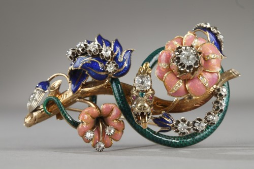 "Gold and enameled ""trembleuse"" brooch - Louis-Philippe"