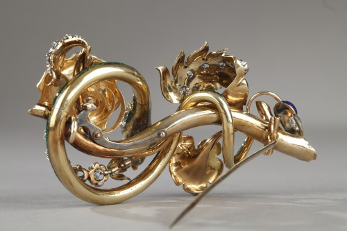 """Gold and enameled """"trembleuse"""" brooch - Louis-Philippe"""