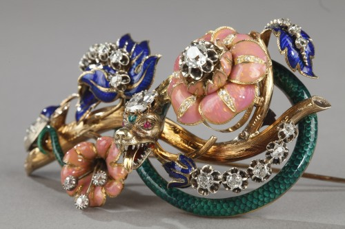 """Louis-Philippe - Gold and enameled """"trembleuse"""" brooch"""